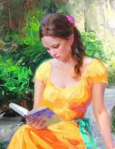 девушка учит стихи