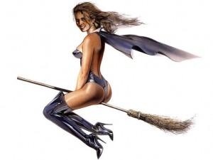 ведьма в купальнике летит на метле