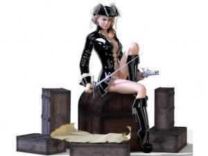 эротичная девушка - пират, на сундуках с золотом