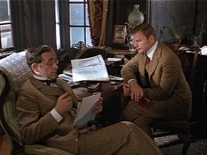 Шерлок Холмс и доктор Ватсон сидят за столом