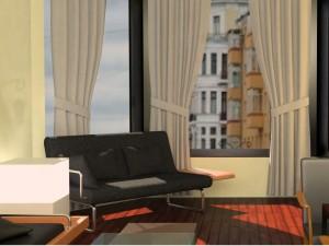 диван, шторы, окно, мебель, роскошь