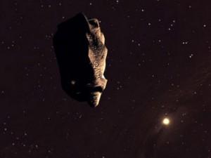 астероид летящий в бескрайнем космосе